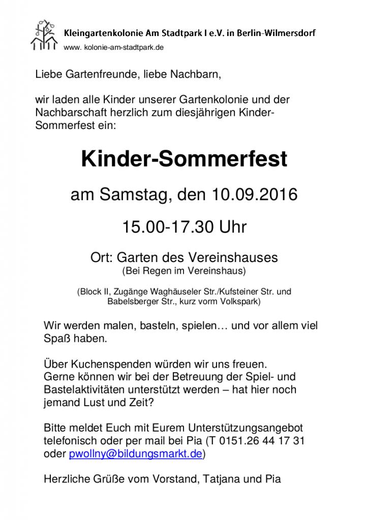 Einladung zu unserem Kinderfest am Samstag, dem 10. September 2016