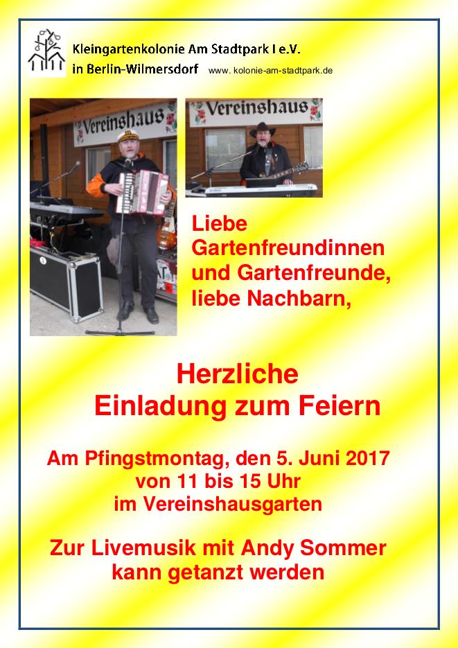 """Einladung zum Pfingstfest der Kleingartenkolonie """"Am Stadtpark I"""" am 05. Juni 2017"""