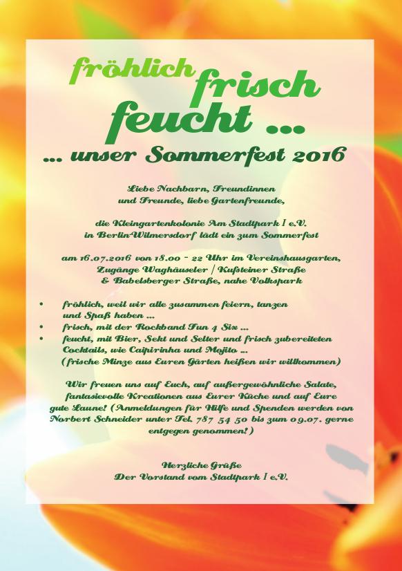 Einladung zu unserem Sommerfest am Samstag, dem 16. Juli 2016
