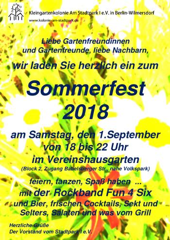 Einladung zum Sommerfest am 01.09.2018