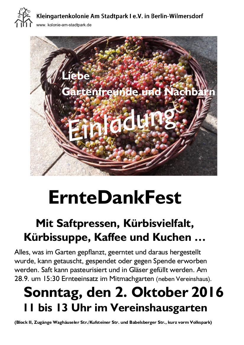 Einladung zu unserem Erntefest am Samstag, dem 2. Oktober 2016