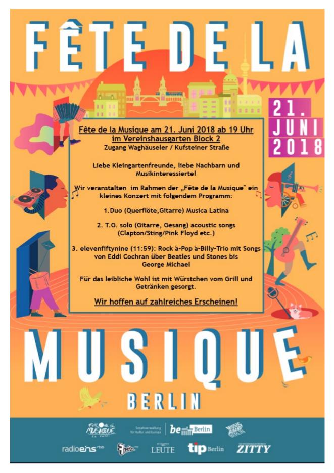 Einladung zur Fete de la Musique am 21. Juni 2018
